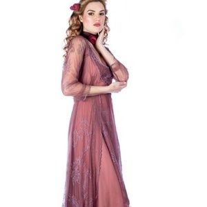 Nataya Victorian Inspired Dress in Mauve XL-40163